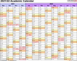 Template 1: Academic calendar 2021/22 for Word, landscape orientation, months horizontally, 1 page