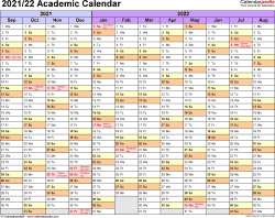 Template 1: Academic calendar 2021/22 for Excel, landscape orientation, months horizontally, 1 page