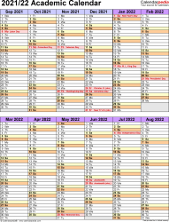 Template 5: Academic year calendar 2021/22 as Word template, portrait orientation, 1 page, two 6-months blocks