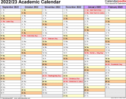 Template 2: Academic calendar 2022/23, for Microsoft Excel (.xlsx file), landscape, 2 pages, half a year per page