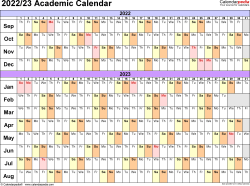 Template 3: Academic calendar 2022/23 for PDF, linear, landscape orientation, 1 page
