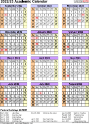 Template 7: Academic calendar 2022/23, for Microsoft Excel (.xlsx file), portrait, 1 page, year at a glance