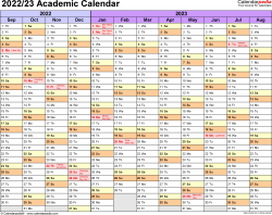 Template 1: Academic calendar 2022/23 for PDF, landscape orientation, months horizontally, 1 page