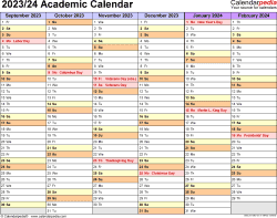 Download Template 2: Academic calendar 2023/24 for Microsoft Excel (.xlsx file), landscape, 2 pages, half a year per page