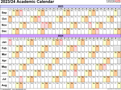 Download Template 3: Academic calendar 2023/24 for Microsoft Excel (.xlsx file), landscape, 1 page, linear