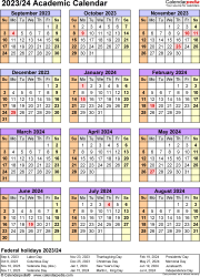 Download Template 7: Academic calendar 2023/24 for Microsoft Excel (.xlsx file), portrait, 1 page, year at a glance