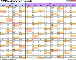Download Template 1: Academic calendar 2023/24 for Microsoft Excel (.xlsx file), landscape, 1 page
