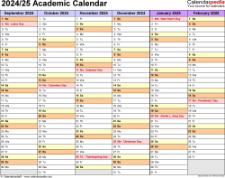 Download Template 2: Academic calendar 2024/25 in PDF format, landscape, 2 pages, half a year per page
