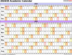 Download Template 3: Academic calendar 2024/25 in PDF format, landscape, 1 page, linear