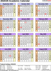 Download Template 7: Academic calendar 2024/25 in PDF format, portrait, 1 page, year at a glance