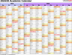Download Template 1: Academic calendar 2024/25 in PDF format, landscape, 1 page