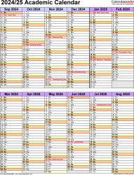 Download Template 5: Academic year calendar 2024/25 in PDF format, portrait orientation, 1 page, two 6-months blocks
