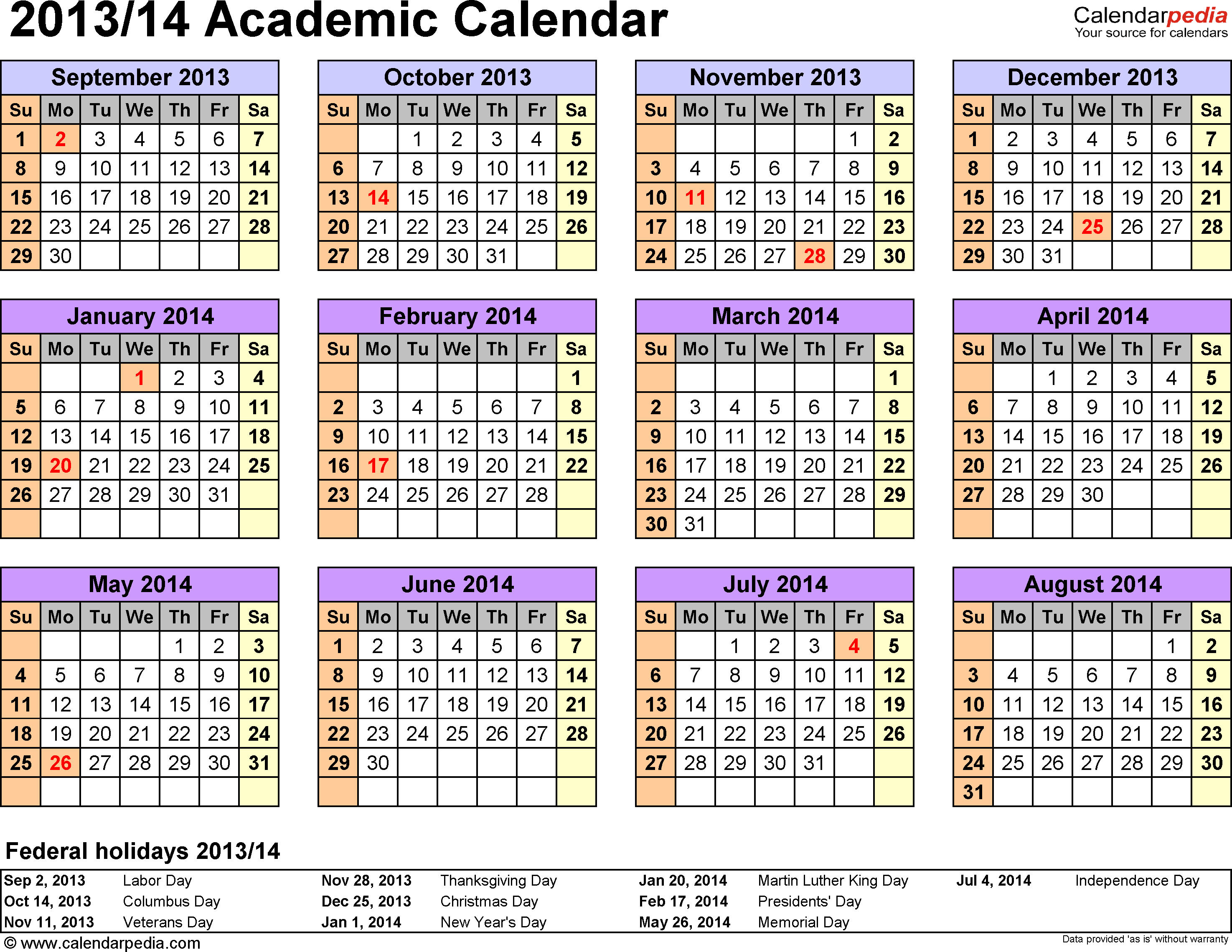 Template 3: Academic calendar 2013/14 for Word, landscape orientation, year at a glance, 1 page