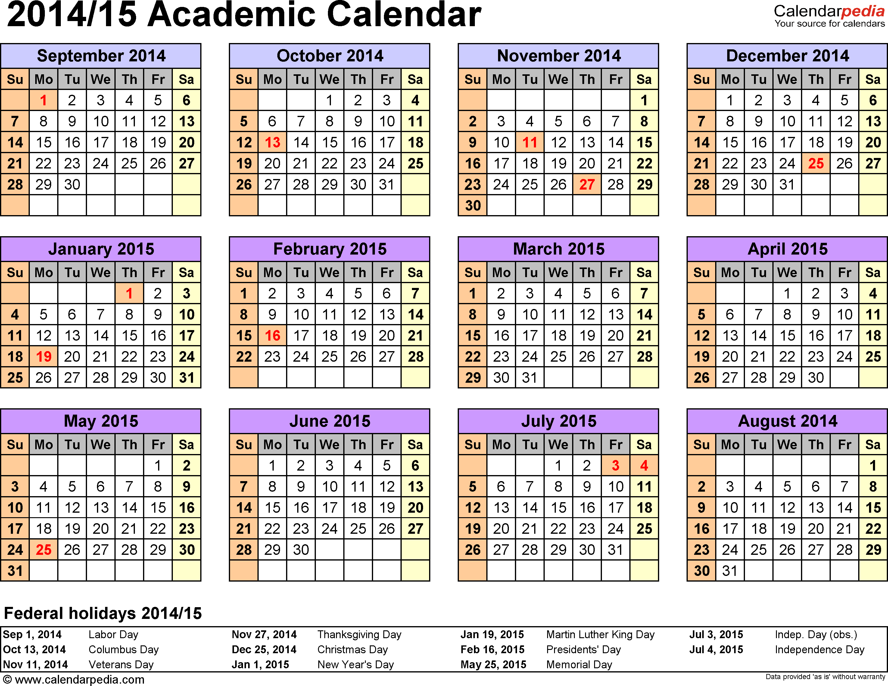 Template 3: Academic calendar 2014/15 for Word, landscape orientation, year at a glance, 1 page