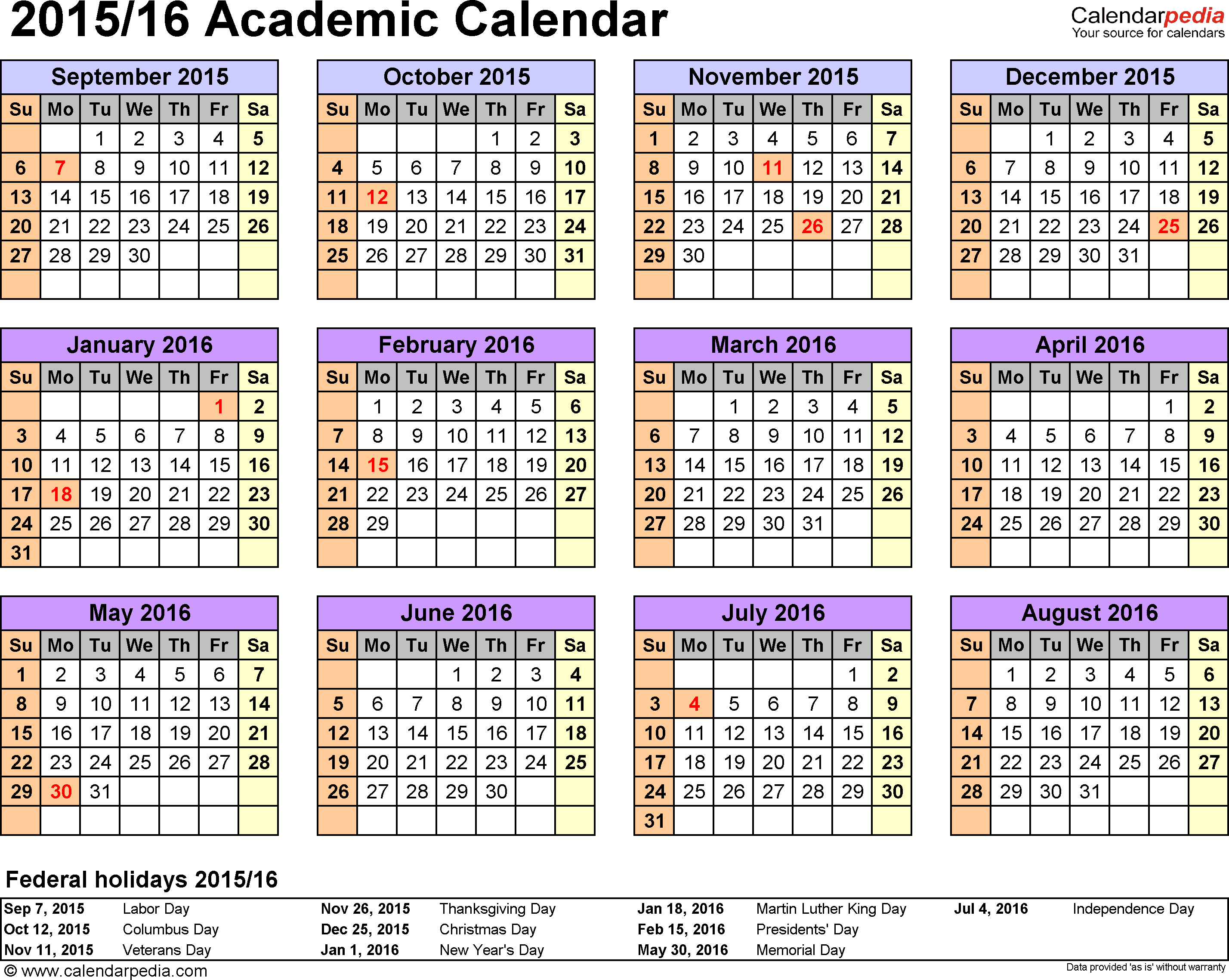 Template 4: Academic calendar 2015/16 for Excel, landscape orientation, year at a glance, 1 page