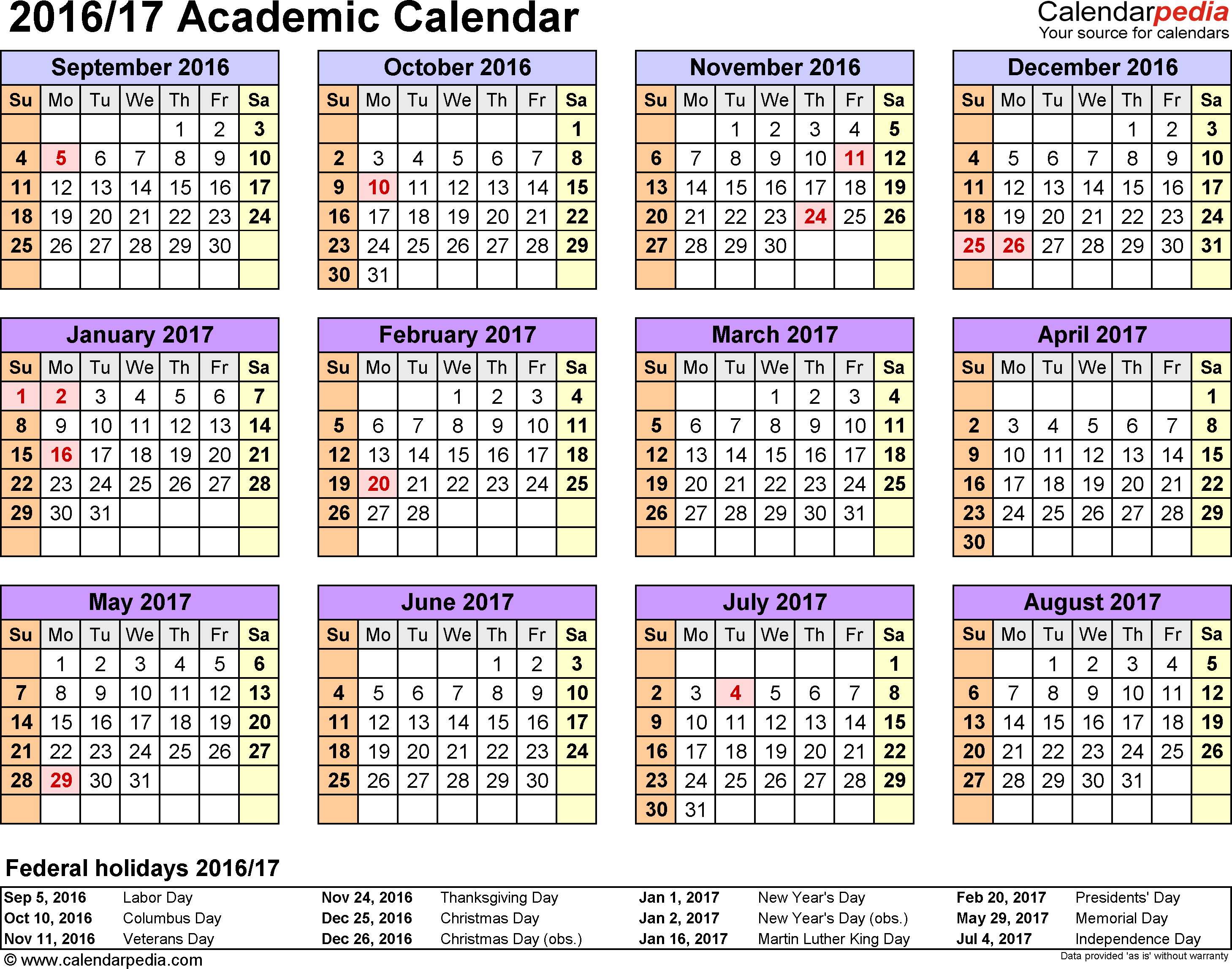 Template 4: Academic calendar 2016/17 for Excel, landscape orientation, year at a glance, 1 page