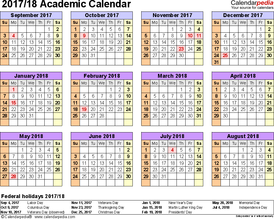 Template 4: Academic calendar 2017/18 for PDF, landscape orientation, year at a glance, 1 page