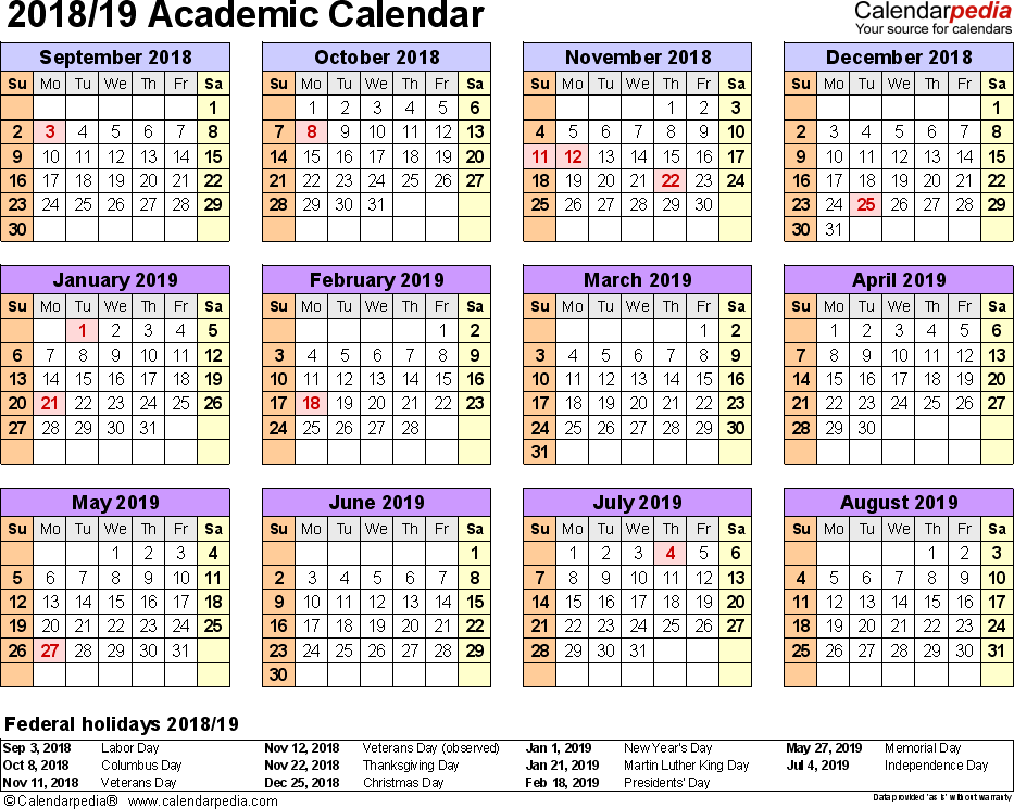 Template 4: Academic calendar 2018/19 for PDF, landscape orientation, year at a glance, 1 page