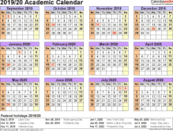 Template 4: Academic calendar 2019/20 for Word, landscape orientation, year at a glance, 1 page