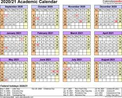 Template 4: Academic calendar 2020/21 for PDF, landscape orientation, year at a glance, 1 page