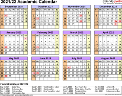 Template 4: Academic calendar 2021/22 for Excel, landscape orientation, year at a glance, 1 page