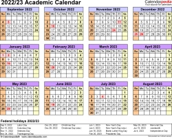 Template 4: Academic calendar 2022/23, for Microsoft Excel (.xlsx file), landscape, 1 page, year at a glance