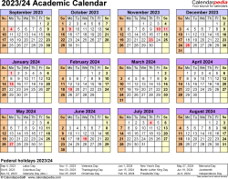 Download Template 4: Academic calendar 2023/24 for Microsoft Excel (.xlsx file), landscape, 1 page, year at a glance