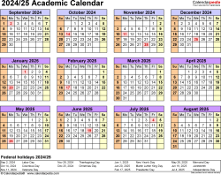 Download Template 4: Academic calendar 2024/25 in PDF format, landscape, 1 page, year at a glance