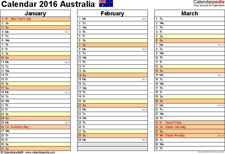 Download Template 5: Calendar 2016 Australia for Microsoft Excel (.xlsx file), landscape, 4 pages, one calendar quarter per page