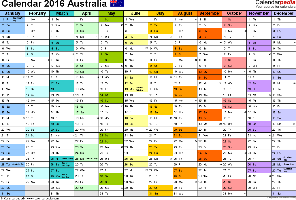 Template 1: 2016 Calendar Australia for Word, 1 page, months horizontally, each month in a different colour, landscape orientation