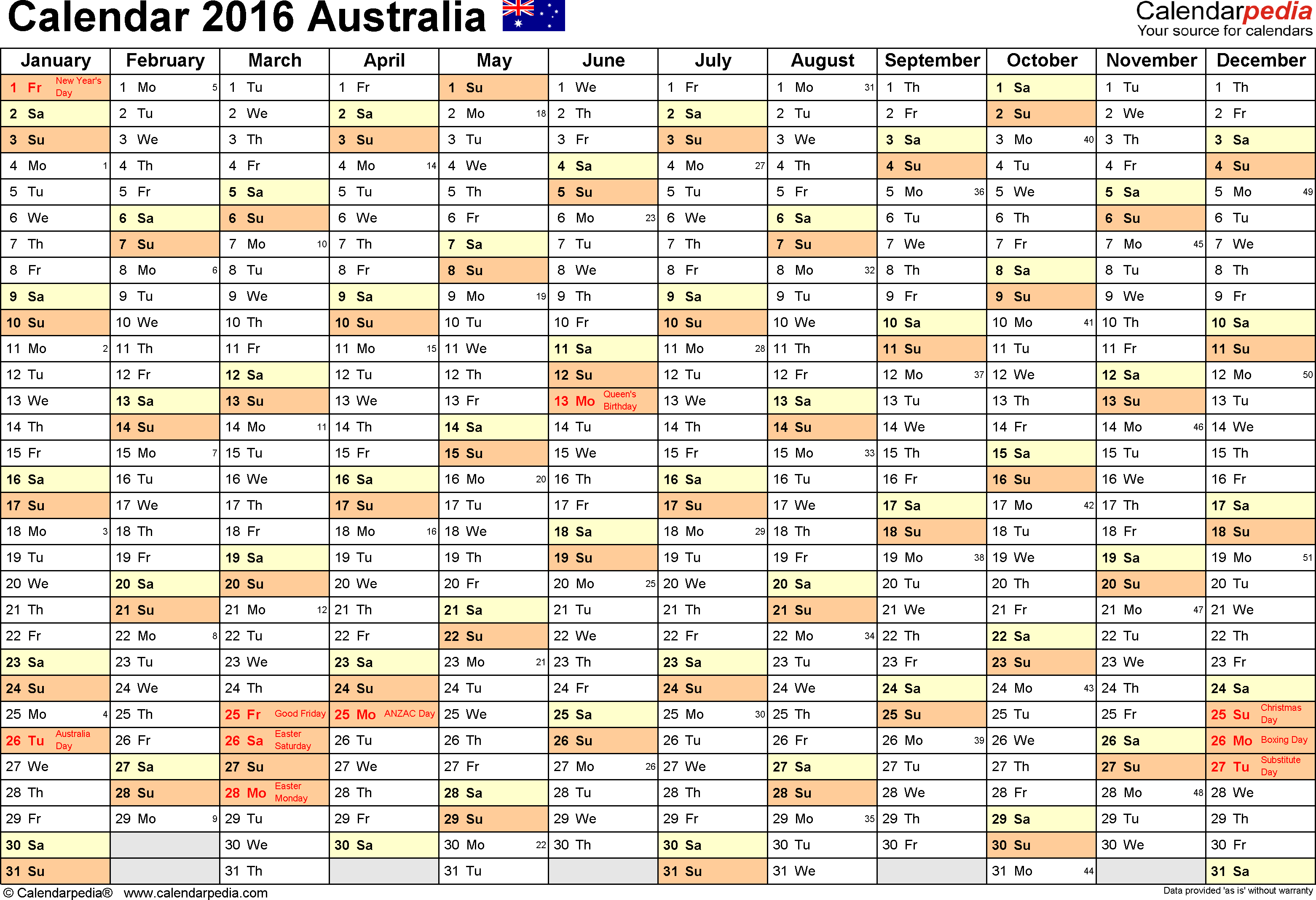 Template 2: 2016 Calendar Australia for Word, months horizontally, 1 page, landscape orientation