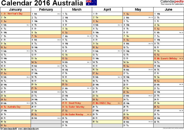 Download Template 3: Calendar 2016 Australia for Microsoft Excel (.xlsx file), landscape, 2 pages, half a year per page