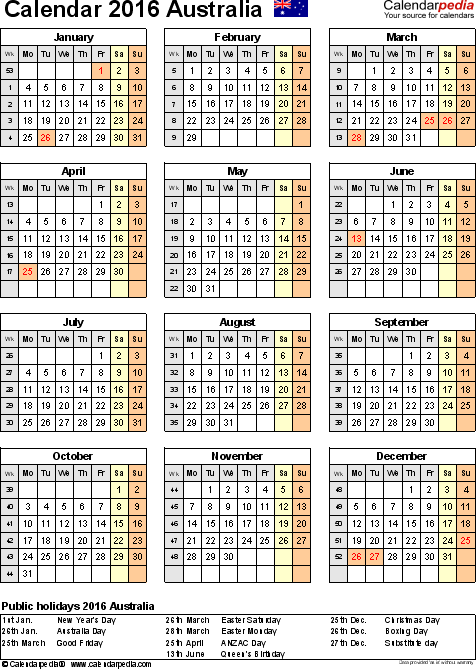 Template 10: 2016 Calendar Australia for Excel, year at a glance, 1 page, portrait orientation