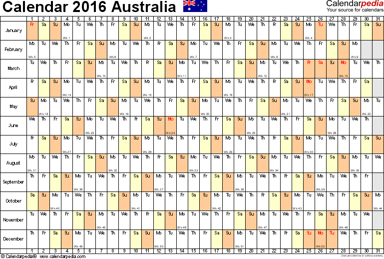 Template 6: 2016 Calendar Australia for PDF, linear (days horizontally), 1 page, landscape orientation