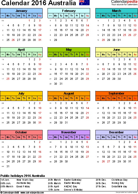 Template 9: 2016 Calendar Australia for Excel, year at a glance, 1 page, in colour, portrait orientation