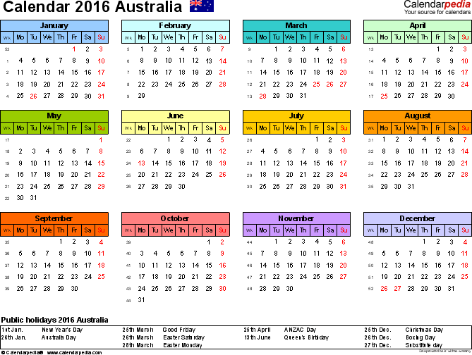 Download Template 7: Calendar 2016 <span style=white-space:nowrap;>Australia for Microsoft Word (.docx file), landscape, 1 page, year at a glance, multi-coloured