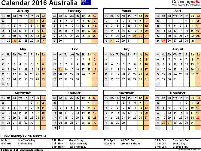 Template 8: 2016 Calendar Australia for PDF, year at a glance, 1 page, landscape orientation