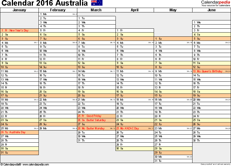 Template 4: 2016 Calendar Australia for PDF, months horizontally, 2 pages, days of the week aligned/linear, landscape orientation