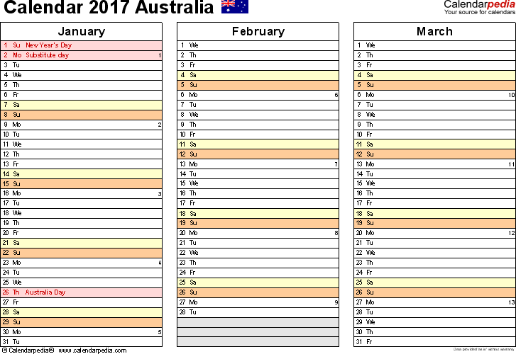 Template 6: 2017 Calendar Australia for PDF, months horizontally, 4 pages, landscape orientation