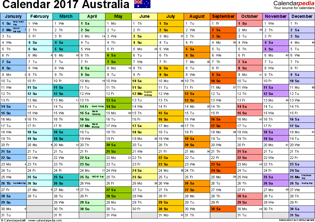 Template 1: 2017 Calendar Australia for PDF, 1 page, months horizontally, each month in a different colour, landscape orientation