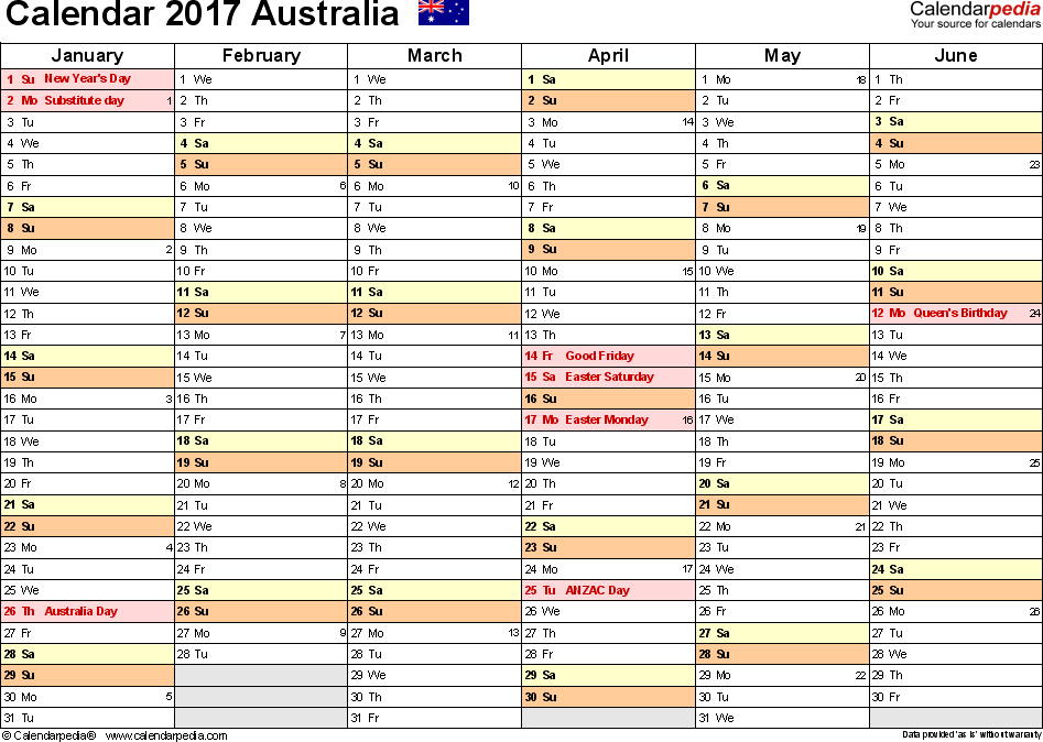 Template 3: 2017 Calendar Australia for PDF, months horizontally, 2 pages, landscape orientation