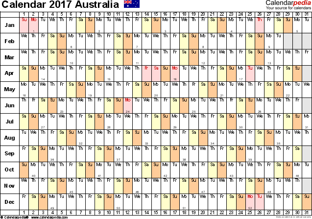 Template 3: 2017 Calendar Australia for PDF, linear (days horizontally), 1 page, landscape orientation