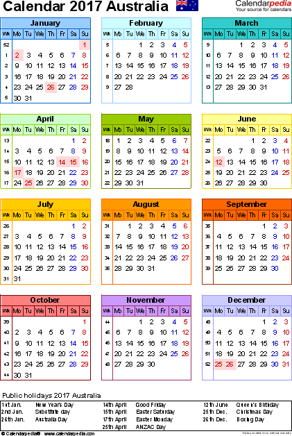 Template 14: 2017 Calendar Australia for PDF, year at a glance, 1 page, in colour, portrait orientation