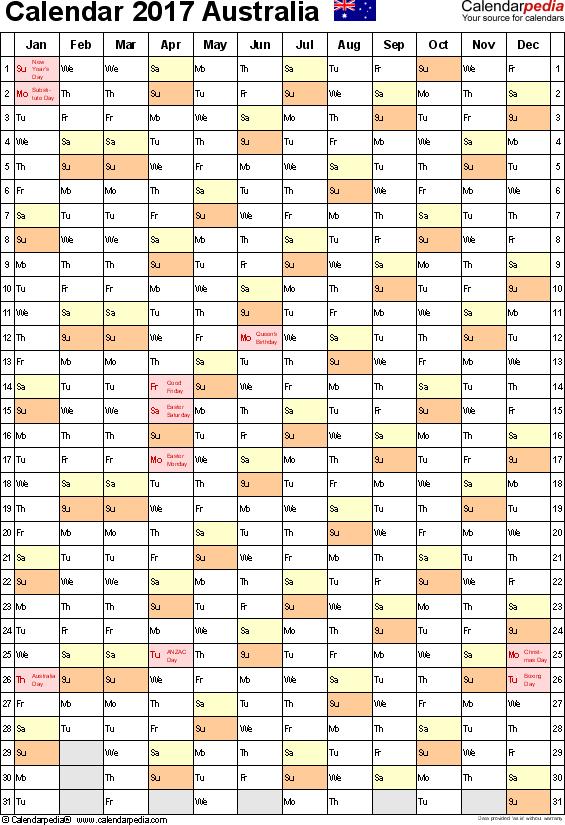 Template 10: 2017 Calendar Australia for Excel, 1 page, portrait orientation