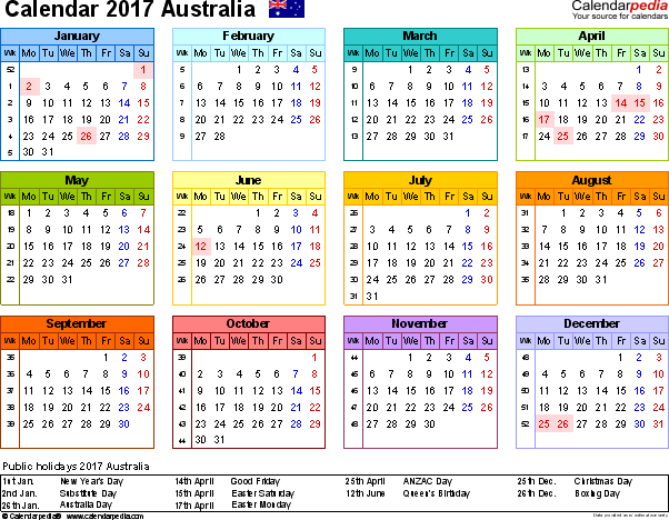 Download Template 7: Calendar 2017 Australia in PDF format, landscape, 1 page, year at a glance, multi-coloured