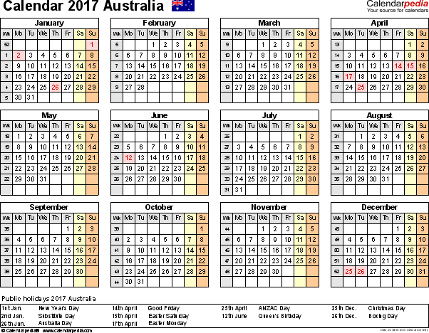Template 8: Calendar 2017 Australia, in PDF format, landscape, 1 page, year at a glance
