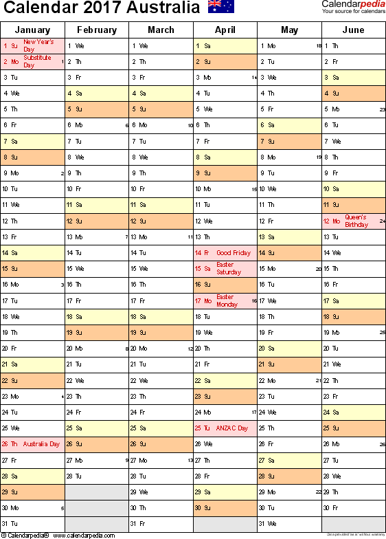 Template 11: 2017 Calendar Australia for Excel, 2 pages, portrait orientation
