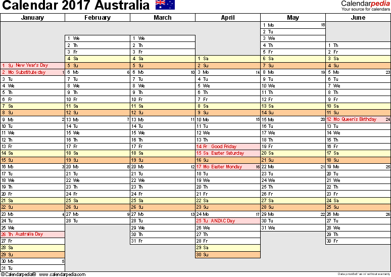 Template 4: 2017 Calendar Australia for Word, months horizontally, 2 pages, days of the week in line/linear, landscape orientation