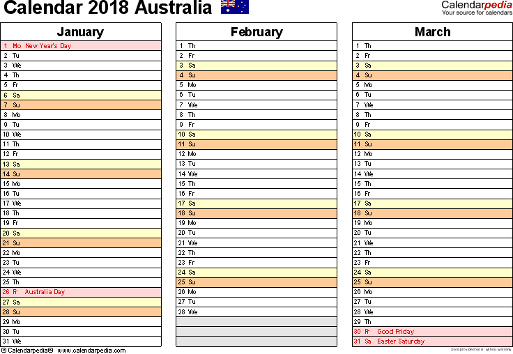 Download Template 5: Calendar 2018 Australia for Microsoft Word (.docx file), landscape, 4 pages, one calendar quarter per page