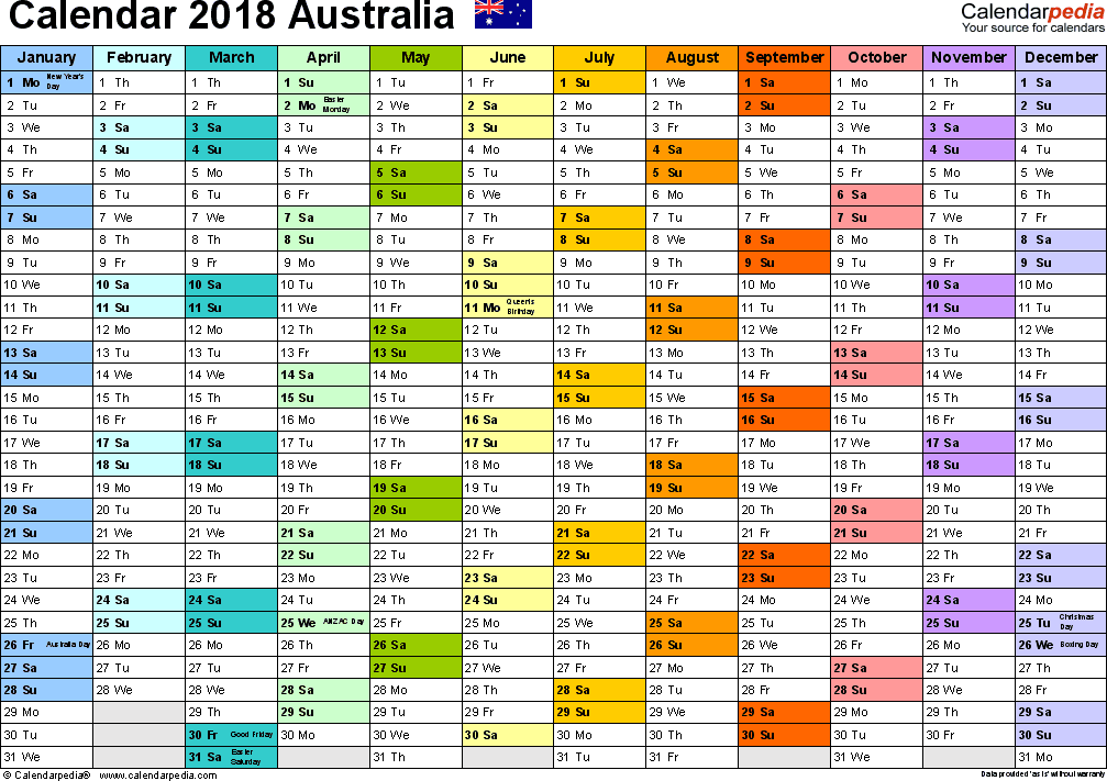 Template 1: 2018 Calendar Australia for PDF, 1 page, months horizontally, each month in a different colour, landscape orientation